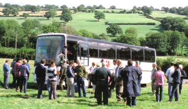 Arrival at the Blackhill and the coach is already stuck in the mud. Not just the heavier members are persuaded to disembark.