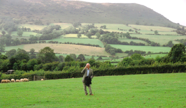Out in the wilds and a long way from Llangwyrfon - William Jones resorts to his mobile phone